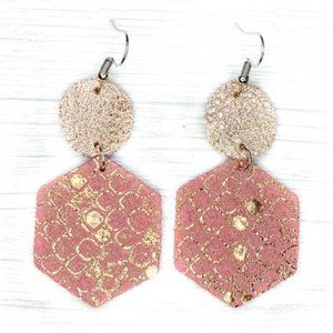 Pink & Rose gold Hexagons - Leather Earrings
